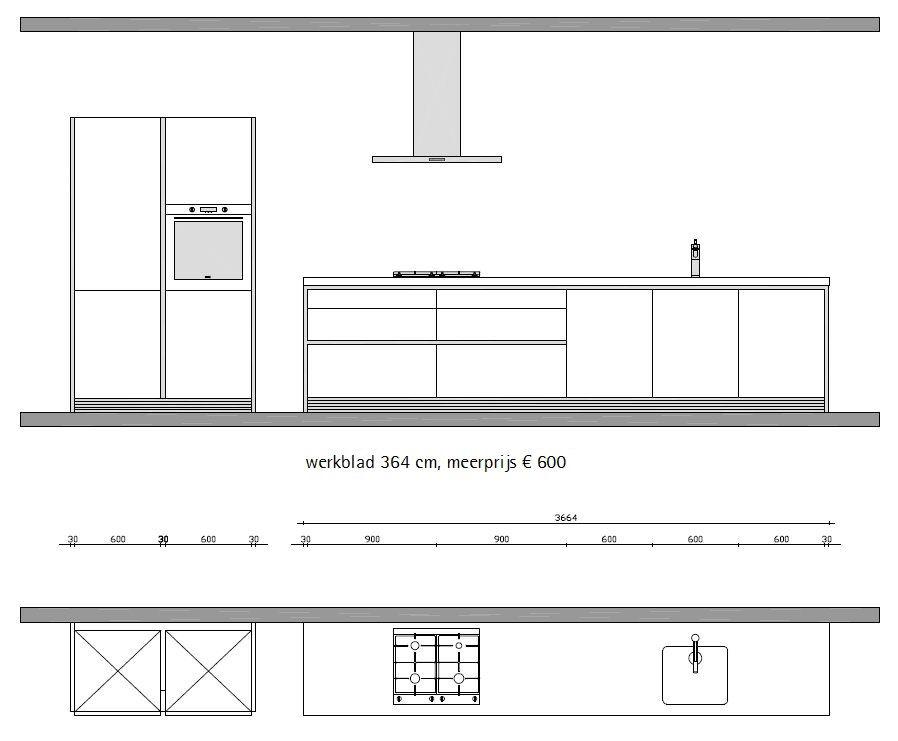 Keuken Kookeiland Afmetingen : bulthaup b1 greeploze keuken in wit matlak (ref 1801